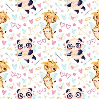 Nahtloses muster der valentinstagstiere. nettes nahtloses muster des karikaturpandas und der giraffen-amoretten.