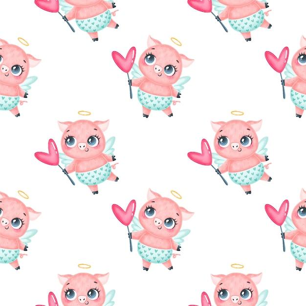 Nahtloses muster der valentinstagstiere. nettes nahtloses muster des karikaturschwein-amors. Premium Vektoren