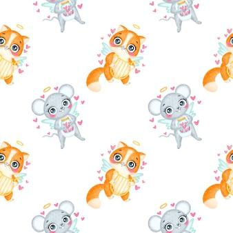 Nahtloses muster der valentinstagstiere. niedliches muster der niedlichen karikaturkatzen- und -maus-amoren