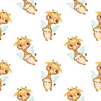 Nahtloses muster der valentinstagstiere. niedliches muster des niedlichen cartoon-giraffen-amors.