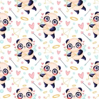 Nahtloses muster der valentinstagstiere. süßes cartoon panda cupid nahtloses muster.