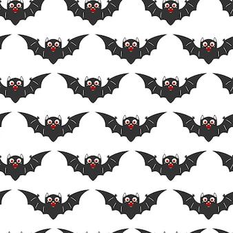 Nahtloses muster der vampirfledermaus für halloween. cartoon-hintergrund für tapete, verpackung, verpackung und hintergrund.