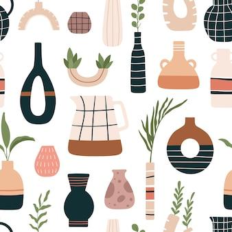 Nahtloses muster der vase. keramikvasen, krüge und krüge mit tropischen blättern im modernen skandinavischen stil. schöner blumenkeramikvektor. skandinavisches muster der illustration nahtlos, blumenblumen in der töpferei