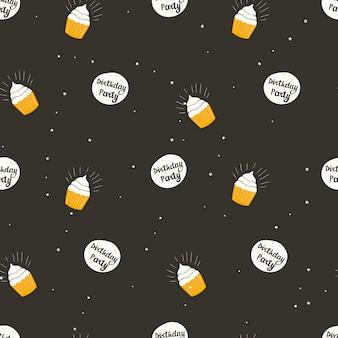 Nahtloses muster der vektorillustration. dunkler hintergrund, banner mit der aufschrift geburtstagsfeier und cupcakes. hintergrunddekoration.