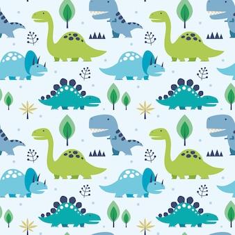 Nahtloses muster der vektorillustration mit dinosauriern
