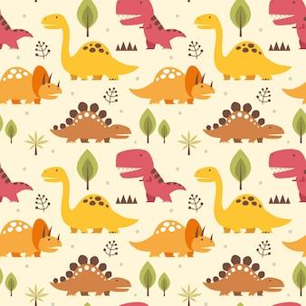 Nahtloses muster der vektorillustration mit dinosauriern Premium Vektoren