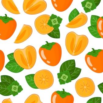 Nahtloses muster der vektorkarikatur mit exotischen früchten, blumen und blättern diospyros oder persimmon