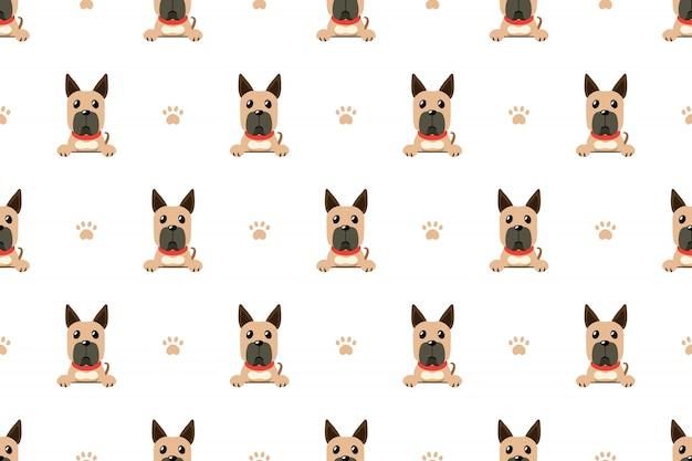 Nahtloses muster der vektorzeichentrickfilm-figur großer däne hund