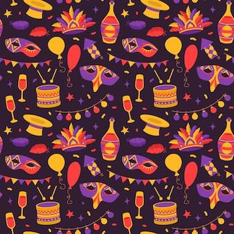Nahtloses muster der venezianischen karnevalssymbole im flachen stil