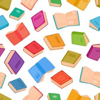 Nahtloses muster der verschiedenen bücher. illustration von den farbkarikaturbüchern lokalisiert auf weiß. färben sie hintergrund für hintergrund, webseiten, gewebe oder innenarchitektur.