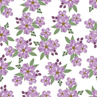 Nahtloses muster der violetten blume für stoffdesign