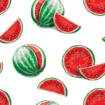 Nahtloses muster der wassermelone auf einem weißen hintergrund. elemente für das design. saftige wassermelone sommerfrucht. wasserfrucht. marktobst.
