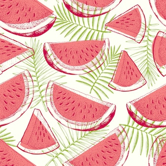 Nahtloses muster der wassermelone und der tropischen blätter. hand gezeichnete illustration der exotischen frucht des vektors. graviertes design mit früchten