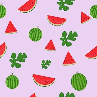 Nahtloses muster der wassermelone. wassermelonenscheiben. wassermelonenblätter.