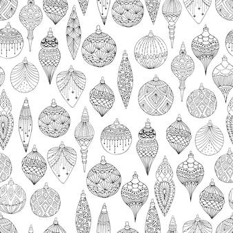 Nahtloses muster der weihnachten mit handgezeichnetem kunstdesign der weihnachtsbaumkugeln
