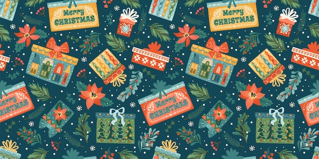 Nahtloses muster der weihnachten und des guten rutsch ins neue jahr mit geschenkboxen. vektor-design-vorlage.