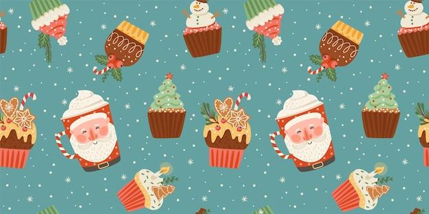 Nahtloses muster der weihnachten und des guten rutsch ins neue jahr mit weihnachtsbonbon und -getränk. trendiger retro-stil. vektor-design-vorlage.