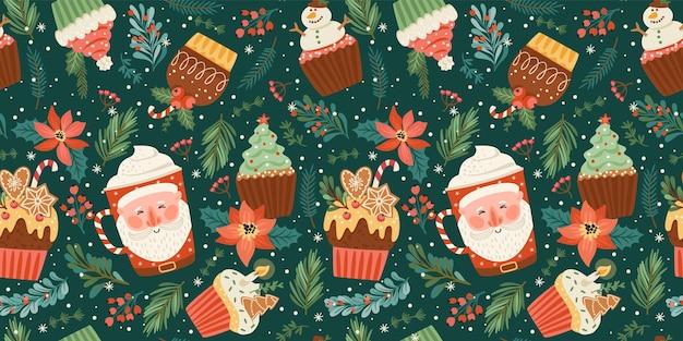 Nahtloses muster der weihnachten und des guten rutsch ins neue jahr mit weihnachtsbonbon und -getränk. vektor-design-vorlage.