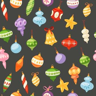 Nahtloses muster der weihnachts- und des neuen jahresbälle