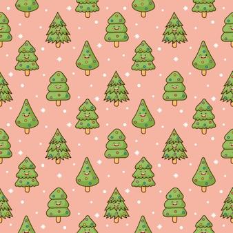 Nahtloses muster der weihnachtsbaumcharaktere auf rosa hintergrund