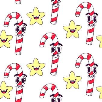 Nahtloses muster der weihnachtsbonbons.