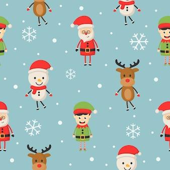 Nahtloses muster der weihnachtscharaktere auf blau.