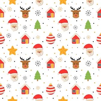 Nahtloses muster der weihnachtscharaktere auf weiß.