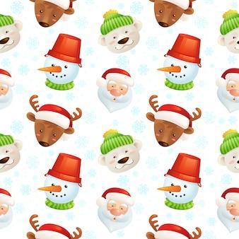 Nahtloses muster der weihnachtscharaktere mit weihnachtsmann, rotwild, schneemann und eisbären