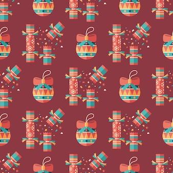 Nahtloses muster der weihnachtscracker und -dekor flacher kunst.