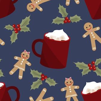 Nahtloses muster der weihnachtsferienzeit.