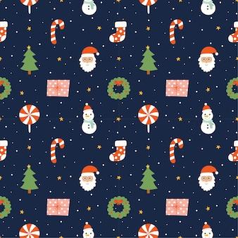 Nahtloses muster der weihnachtsfiguren auf blauem hintergrund