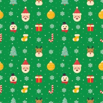 Nahtloses muster der weihnachtsfiguren auf grünem hintergrund