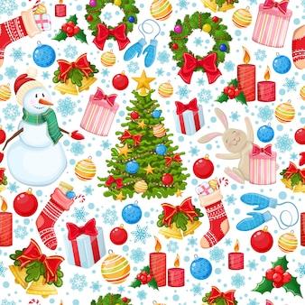 Nahtloses muster der weihnachtsikonen. bunte karikaturweihnachtsillustration für dekoration.