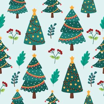 Nahtloses muster der weihnachtskarikatur mit weihnachtsbaum