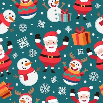 Nahtloses muster der weihnachtskarikatur mit weihnachtsmann und schneemann