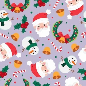 Nahtloses muster der weihnachtskarikatur