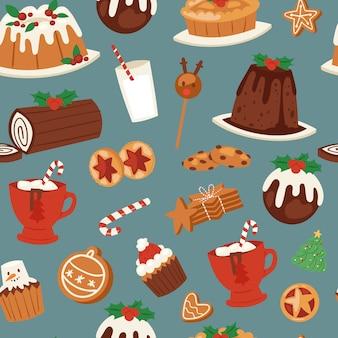 Nahtloses muster der weihnachtskuchen, -süßigkeiten und -bonbons.