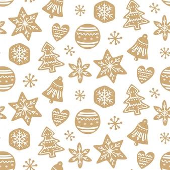 Nahtloses muster der weihnachtslebkuchenplätzchen