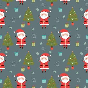 Nahtloses muster der weihnachtsmann- und weihnachtselemente