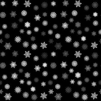 Nahtloses muster der weihnachtsschneeflocke mit mit ziegeln gedecktem fallendem schnee