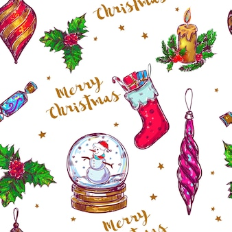 Nahtloses muster der weihnachtsskizze