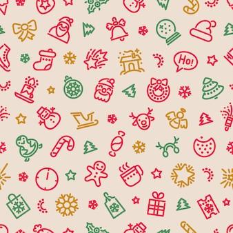 Nahtloses muster der weihnachtssymbole bunt