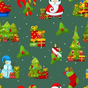 Nahtloses muster der weihnachtssymbole