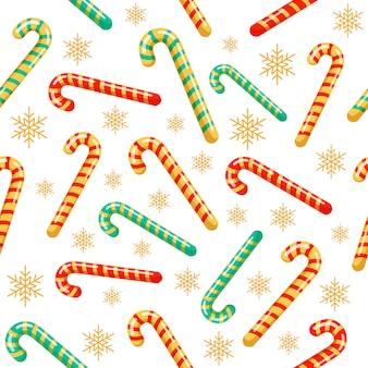 Nahtloses muster der weihnachtszuckerstange in der flachen art
