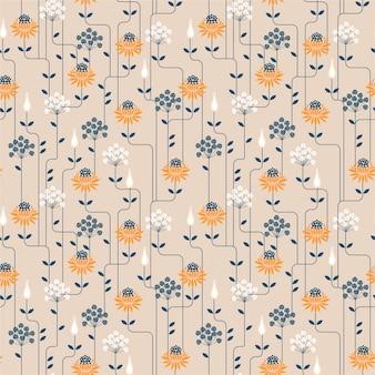 Nahtloses muster der weinlese-blume mit linie. ornamentdesign für modestoffe, tapeten und alle drucke