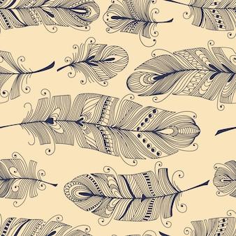 Nahtloses muster der weinlese mit von hand gezeichneten federn
