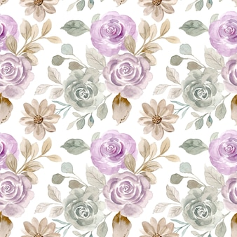 Nahtloses muster der weinleserosenblume mit aquarell