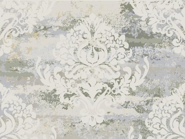 Nahtloses muster der weinleseverzierung. barockes rokokobeschaffenheits-luxusdesign. königliche textildekore. alter gemalter effekt