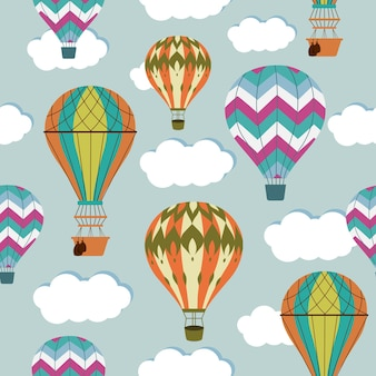 Nahtloses muster der weinluftluftballons.