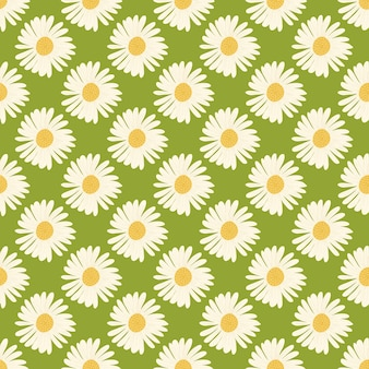 Nahtloses muster der weißen gänseblümchenblumenverzierung im handgezeichneten stil. grüner hintergrund. Premium Vektoren